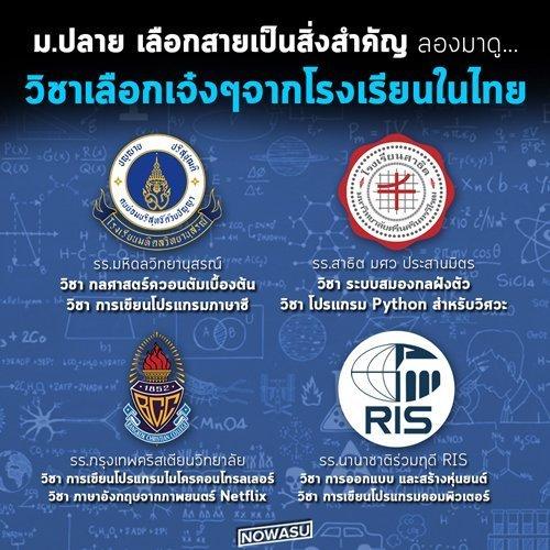 โรงเรียนในไทย กับช่วง มปลาย ใน วิชาเลือกสายเทคโนโลยีเจ๋งๆ