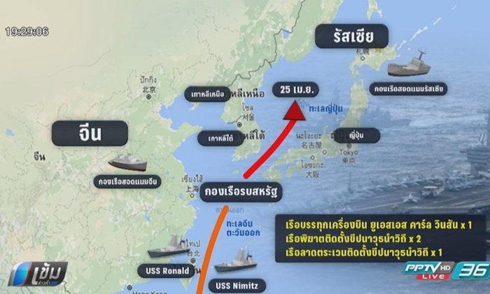 สหรัฐส่งเรือบรรทุกเครื่องบิน 3 ลำ ไปประจำการที่ทะเลญี่ปุ่น